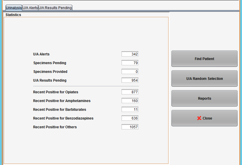 Paperless software drug testing module screen